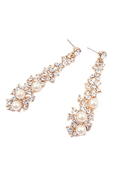 Zarif Pearl Rhinestone Dangle Avize Küpe