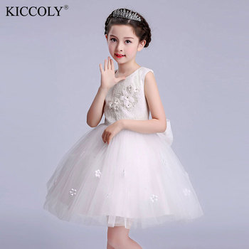 4-16Years Princess Girl Dresses For Wedding Party Evening Bridesmaid Kids Bow Sleeveless Tulle White Tutu Flower Girls Dress